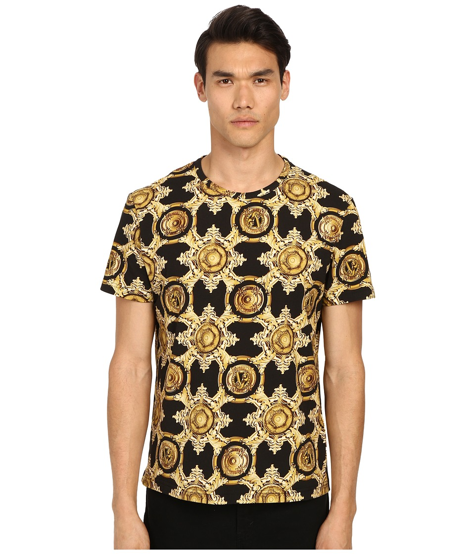 Versace Jeans - Baroque Medallion Print Short Sleeve T-Shirt (Black/Gold) Men's T Shirt