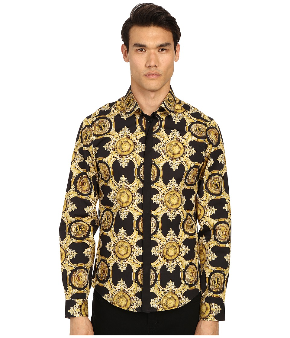 Versace Jeans - Baroque Medallion Print Button Up (Black/Gold) Men's Long Sleeve Button Up