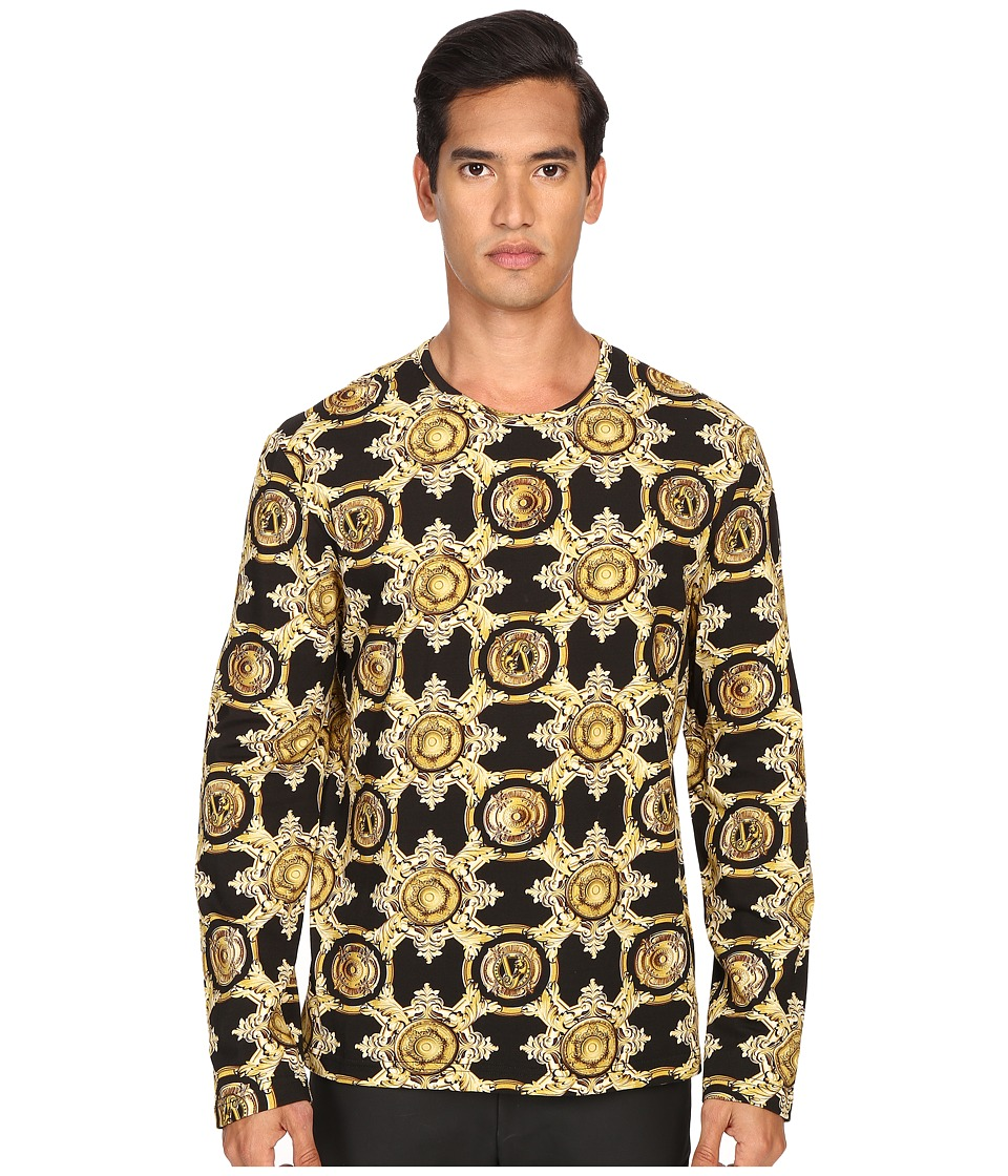 Versace Jeans - Baroque Medallion Print Long Sleeve T-Shirt (Black/Gold) Men's Long Sleeve Pullover