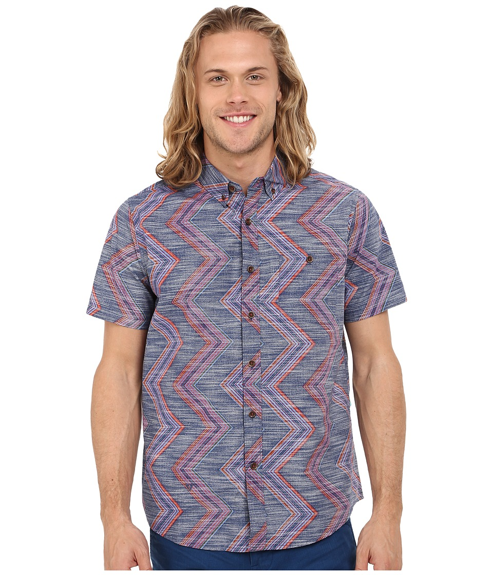VISSLA - Raised by Waves Short Sleeve Woven (Dark Navy) Men's Clothing