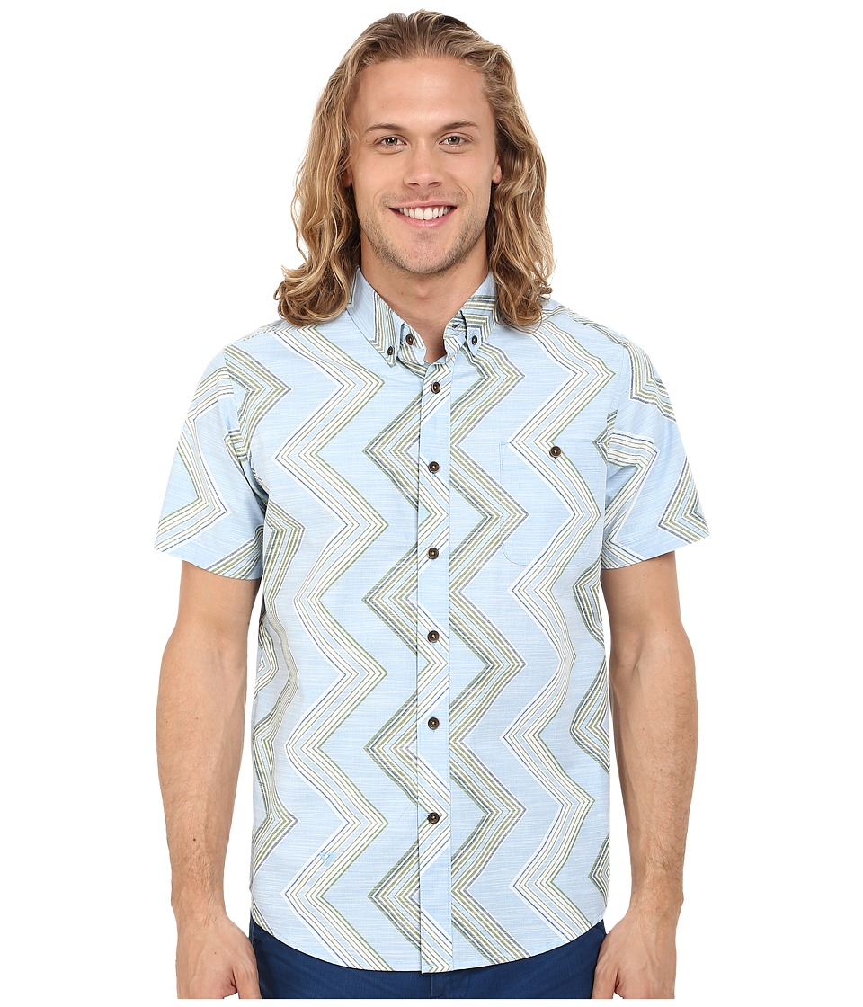 VISSLA - Raised by Waves Short Sleeve Woven (Coastal Blue) Men's Clothing