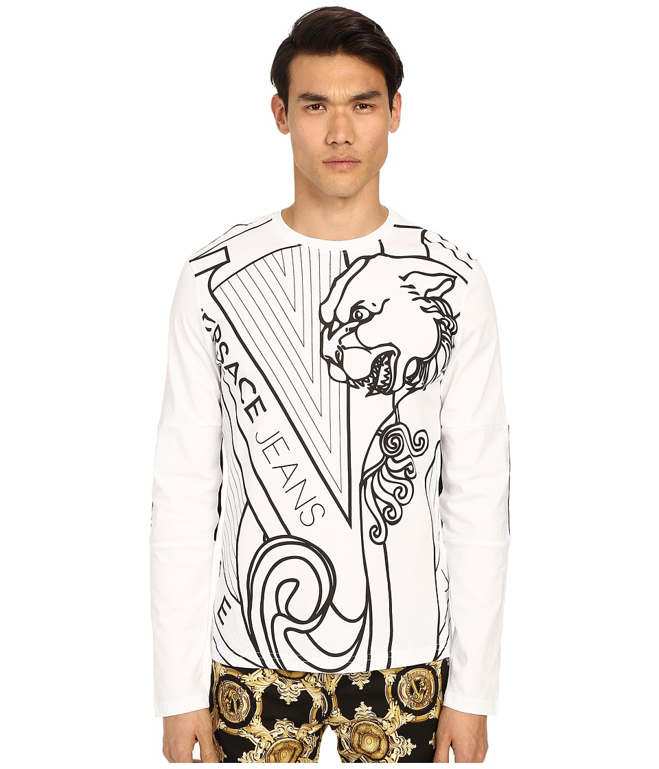 Versace Jeans - Big Tiger Logo Long Sleeve T-Shirt (White) Men's T Shirt