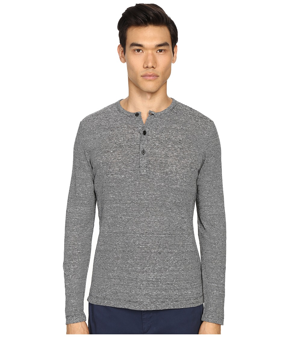Theory - Arlee L.Zephyr Wash Henley (Black/White) Men's Clothing