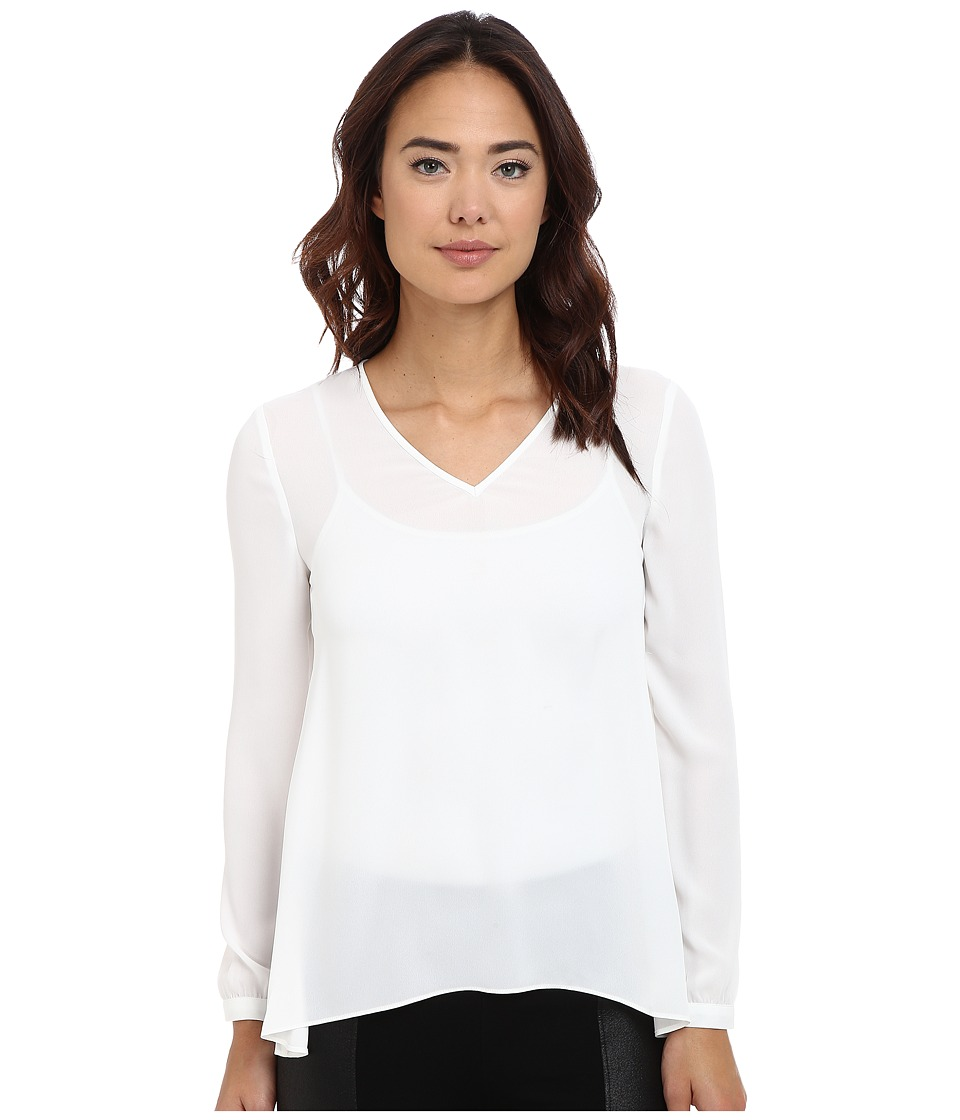 Olive & Oak - Long Sleeve Woven V-Neck Top (Porcelain) Women's Clothing