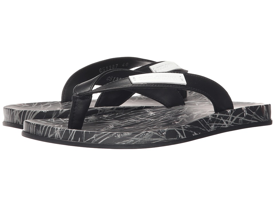Dolce & Gabbana - Beachwear Printed (Black) Men's Sandals