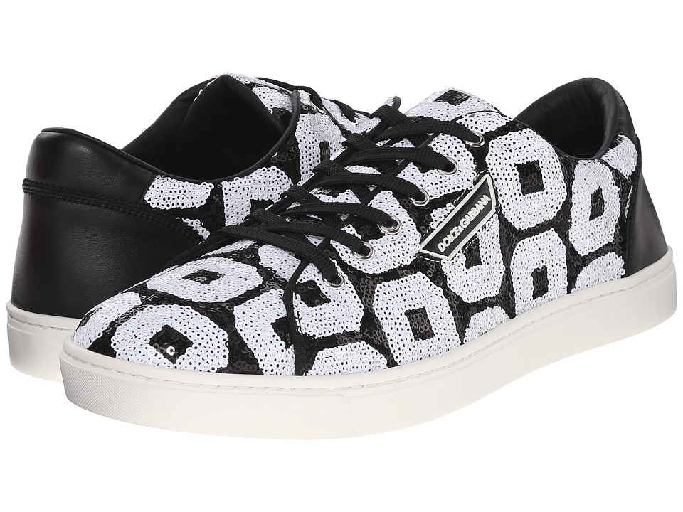 Dolce & Gabbana - Sneakers in Napa Calfskin and Sequins (Black/White 1) Men's Lace up casual Shoes