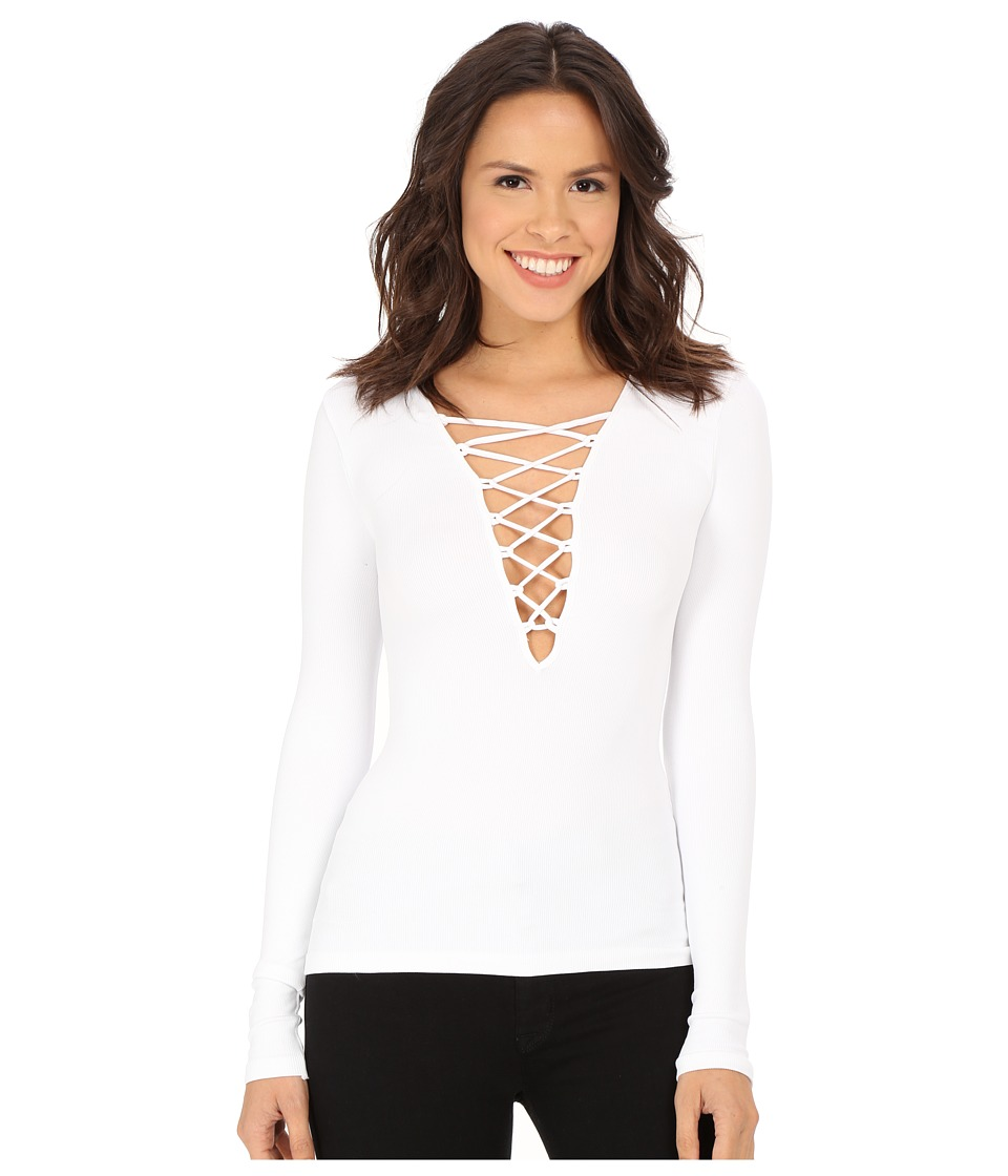 Free People - Lace-Up Layering Tee (White) Women's T Shirt