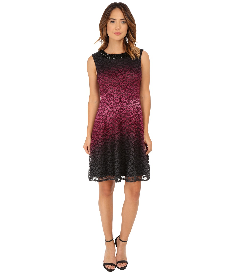 rsvp Nightfall Fit and Flare Dress (Black/Bordeux) Women