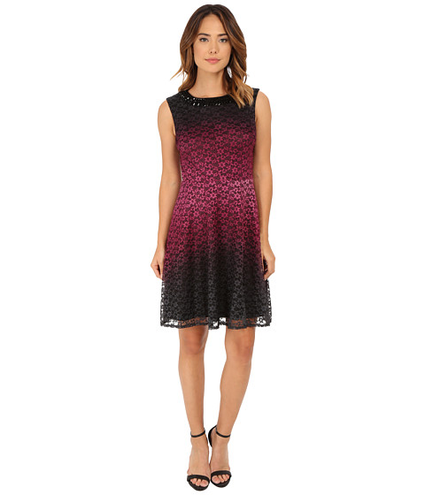 rsvp - Nightfall Fit and Flare Dress (Black/Bordeux) Women