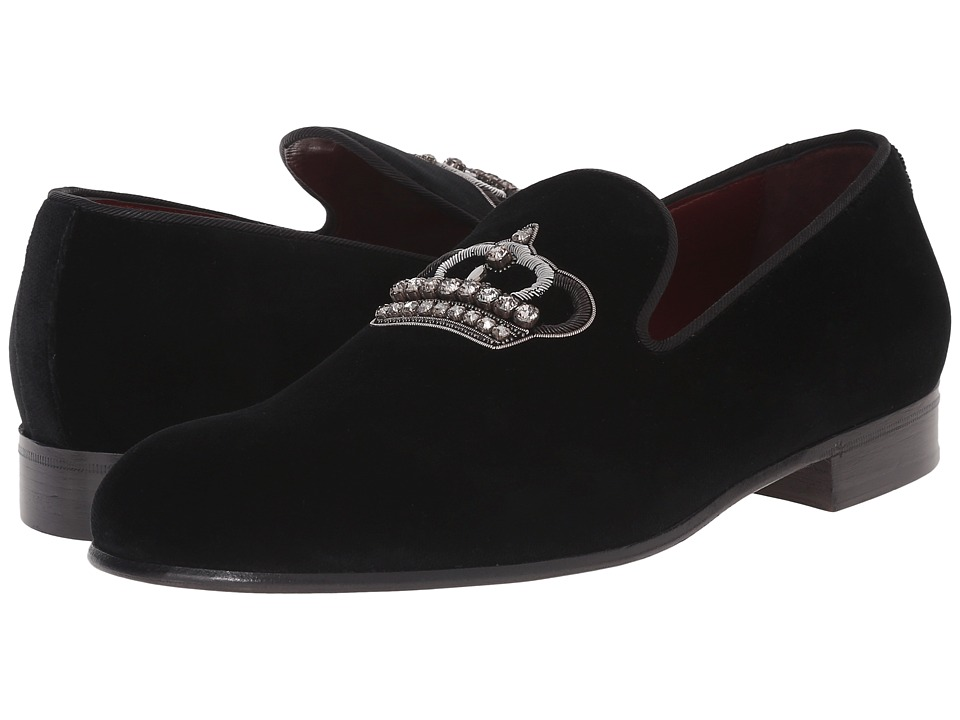 Dolce & Gabbana - Embroidered Velvet Slippers (Black) Men's Slip-on Dress Shoes