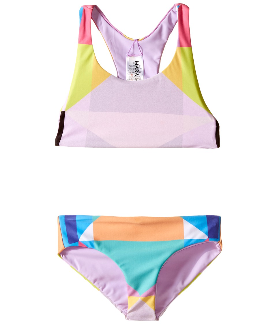 Mara Hoffman Kids - Diamond Printed Racerback Bikini Top with Boardshorts Bottoms (Toddler/Little Kids/Big Kids) (Aqua) Girl's Swimwear Sets