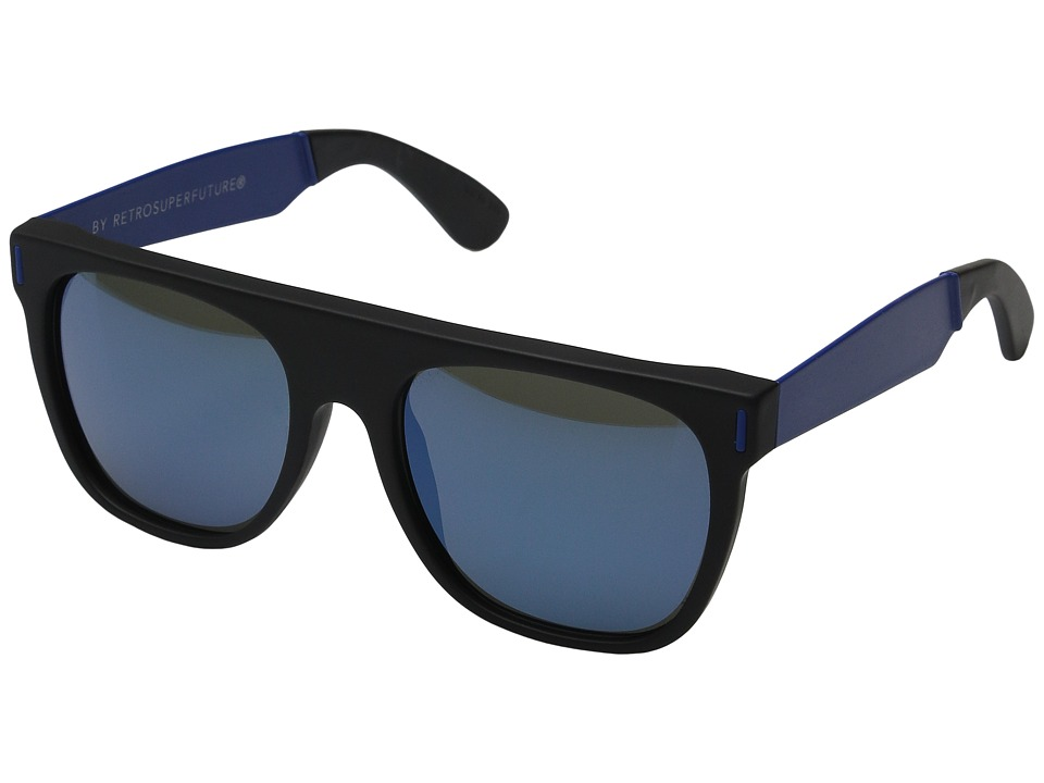 Super - Flat Top Francis Squadra (Black/Blue) Fashion Sunglasses