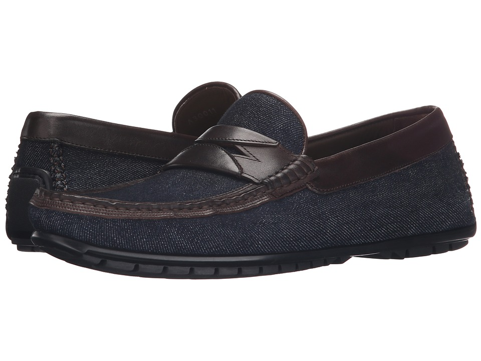 Dolce & Gabbana - Denim and Calfskin Driving Shoe (Brown/Blue) Men's Slip on Shoes