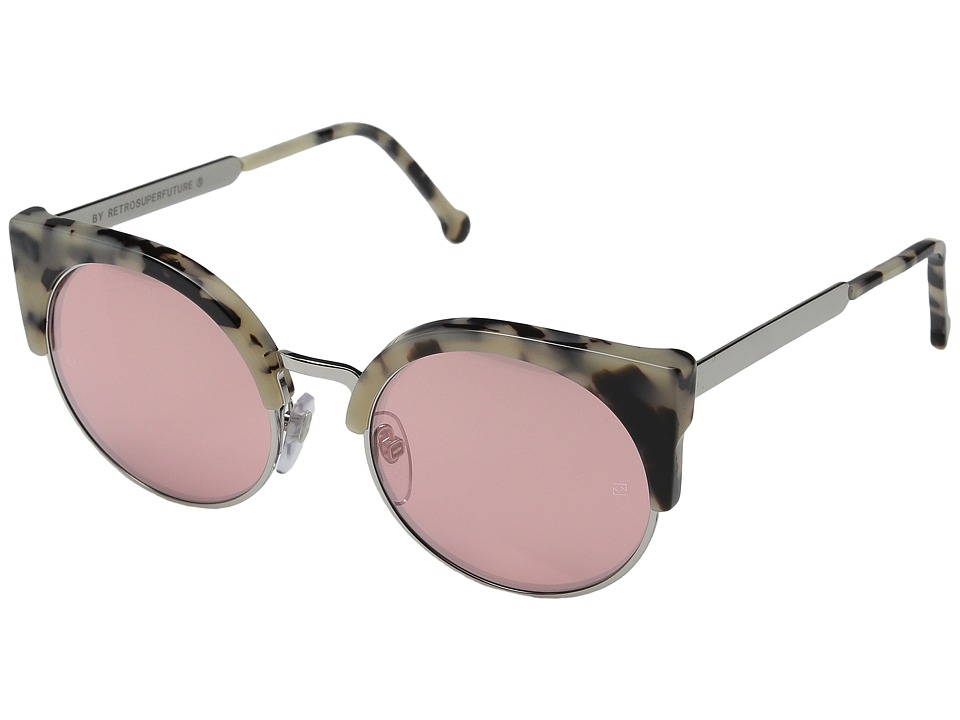 Super - Ilaria Gel (Summer Safari/Silver/Pink Mirror) Fashion Sunglasses