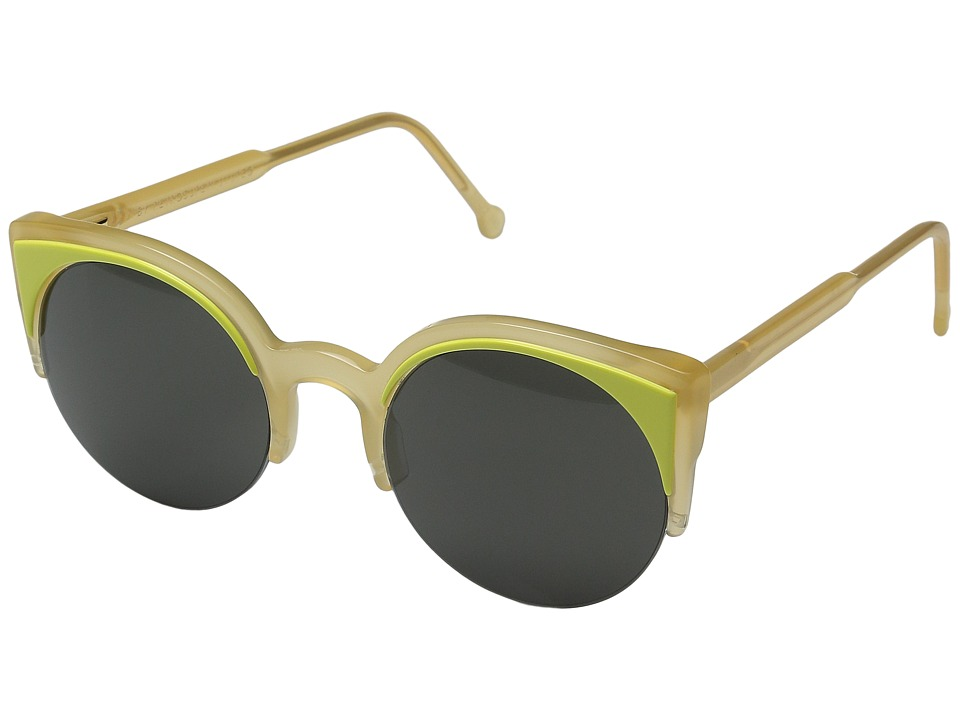 Super - Lucia Surface Lime (Translucent Yellow/Yellow/Black) Fashion Sunglasses