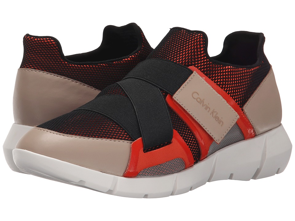 Calvin Klein - Willia (Black/Orange/Cocoon Leather/Elastic) Women's Hook and Loop Shoes