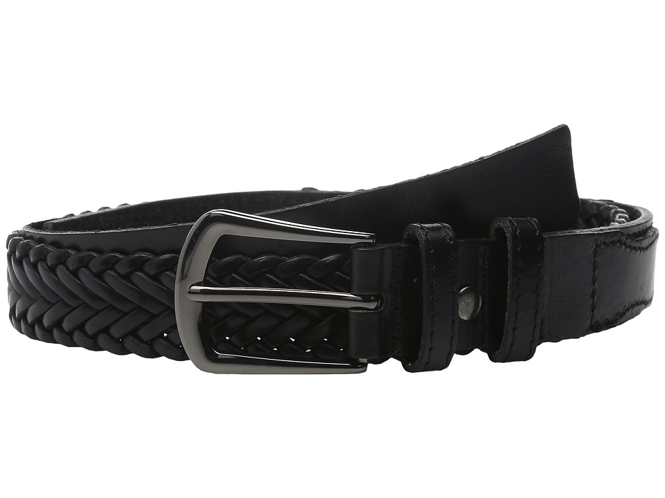 The Kooples - Western Braide Smooth Leather Belt (Black) Men's Belts