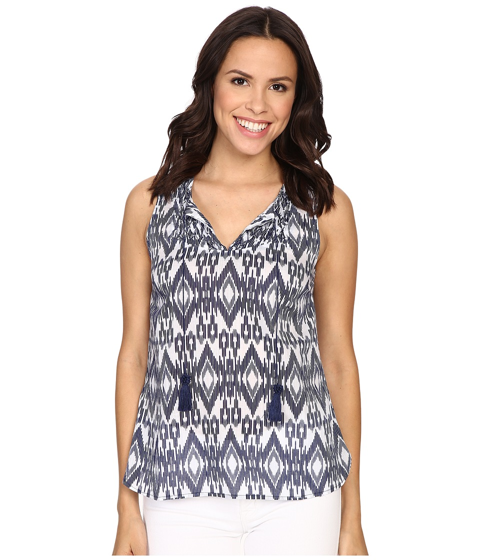 Tommy Bahama - Avec Ikat Smocked Tank Top (Ocean Deep) Women's Sleeveless