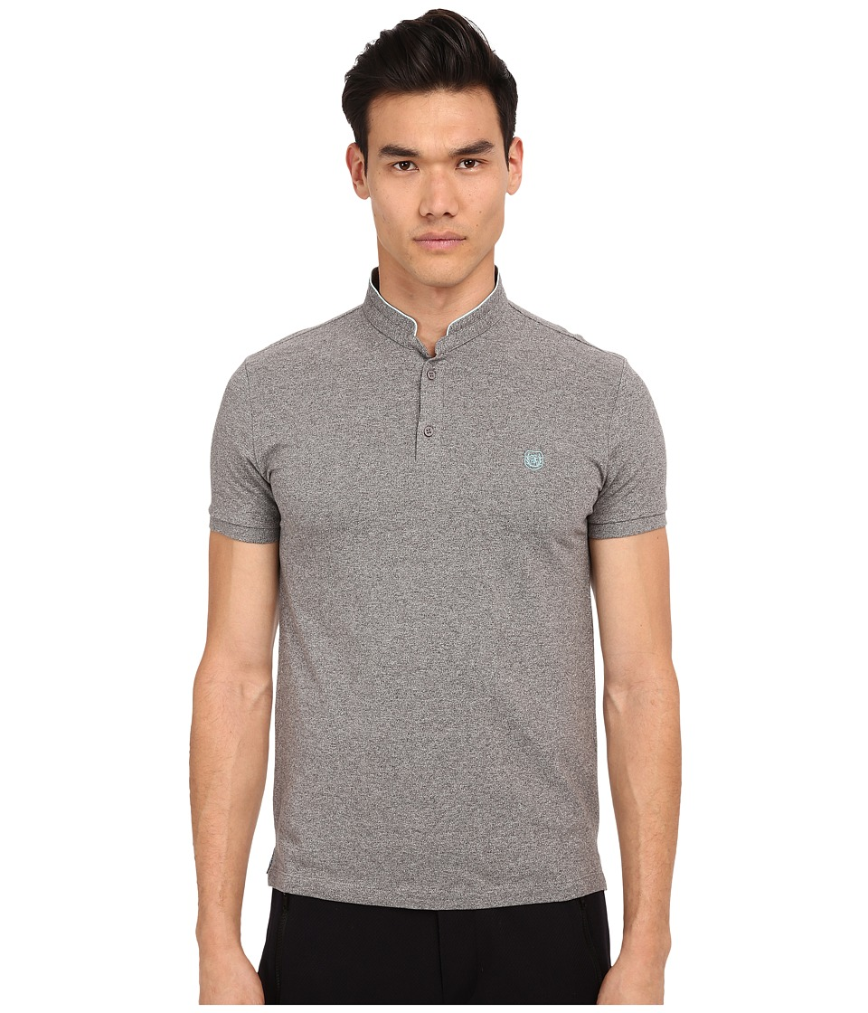 The Kooples - Sport Shiny Pique Polo (Grey) Men's Short Sleeve Pullover