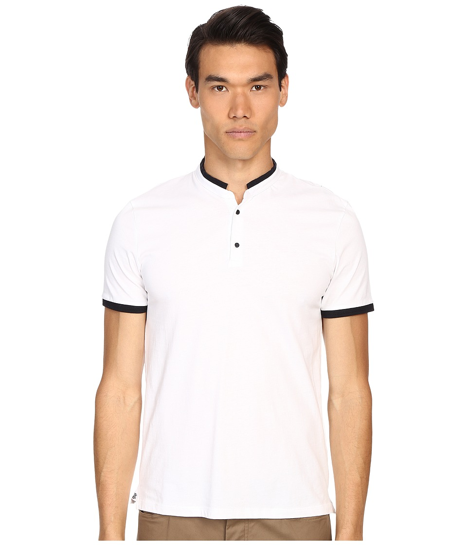 The Kooples - Sport Mercerized Jersey Grain Polo (White) Men's Short Sleeve Pullover