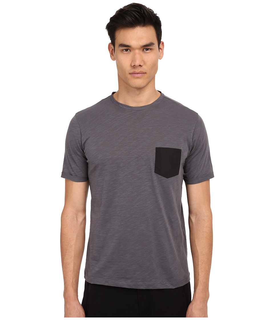 The Kooples - Sport Jersey Nylon Pocket Tee Shirt (Grey) Men's T Shirt
