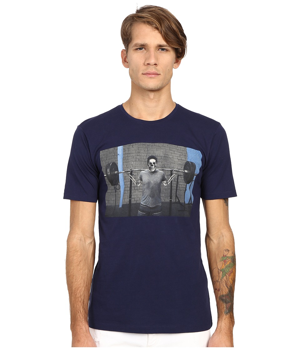 The Kooples - Sport Slub Jersey Printed Tee Shirt (Navy) Men's T Shirt