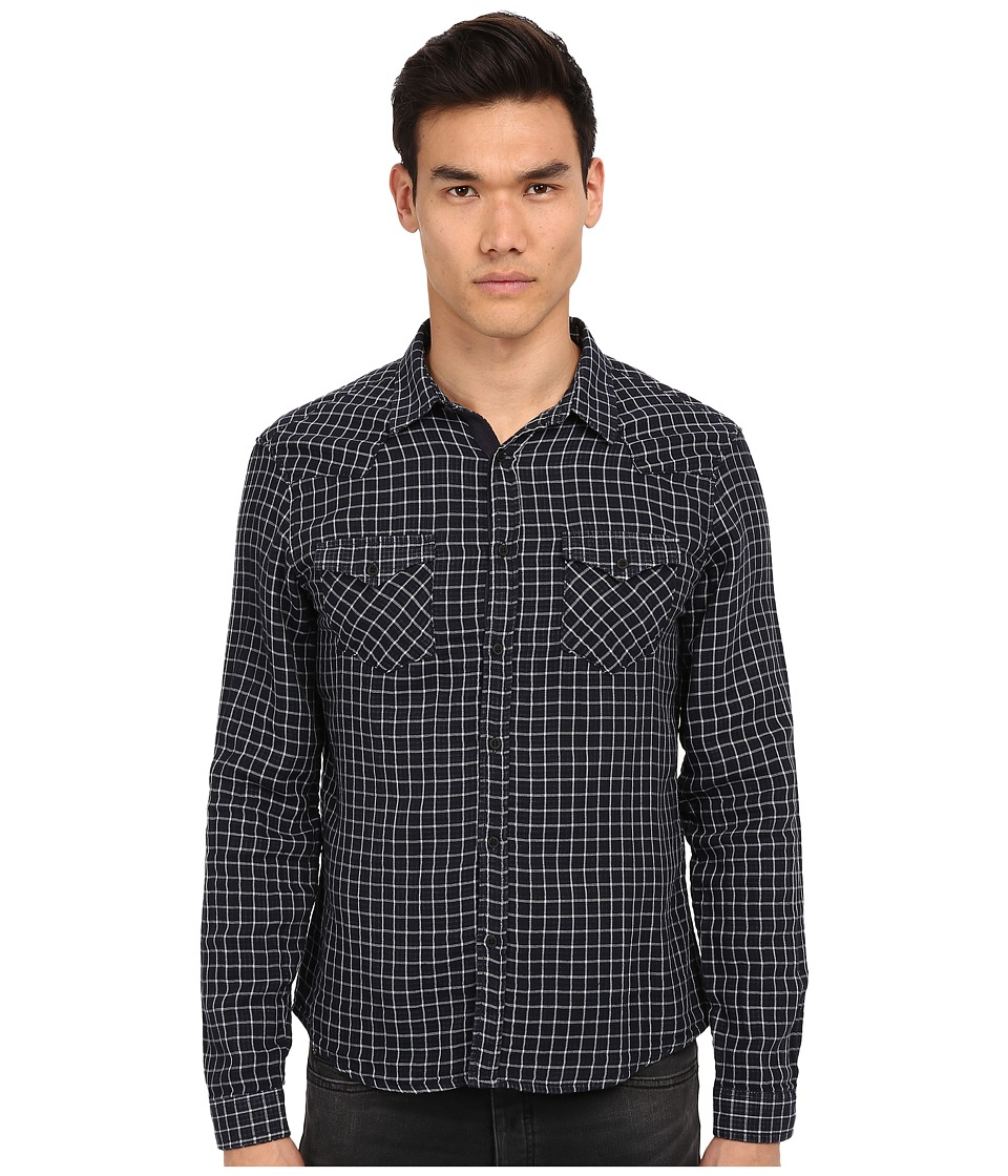 The Kooples - Sport Double Face Checks Denim Shirt (Blue) Men's Long Sleeve Button Up