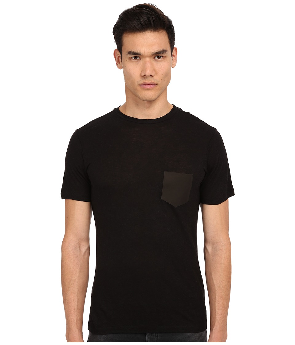 The Kooples - Linen and Viscose Jersey Tee Shirt (Black) Men's T Shirt plus size,  plus size fashion plus size appare