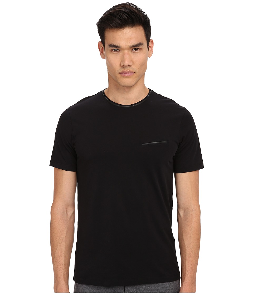 The Kooples - Jersey and Leather Piping Tee Shirt (Black) Men's T Shirt plus size,  plus size fashion plus size appare