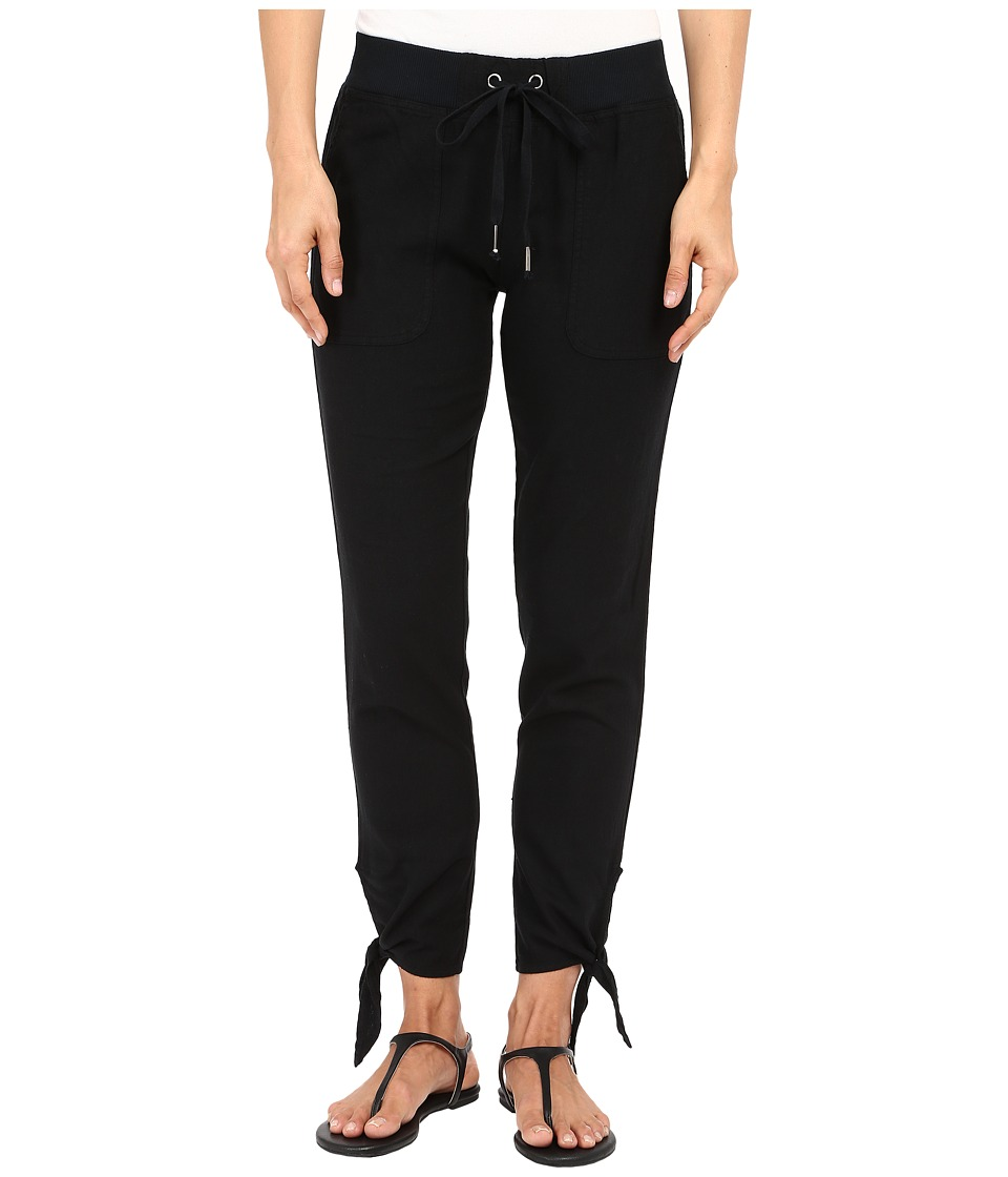 Mod-o-doc - Linen Rayon Ankle Tie Pull-On Pants (Black) Women's Casual Pants