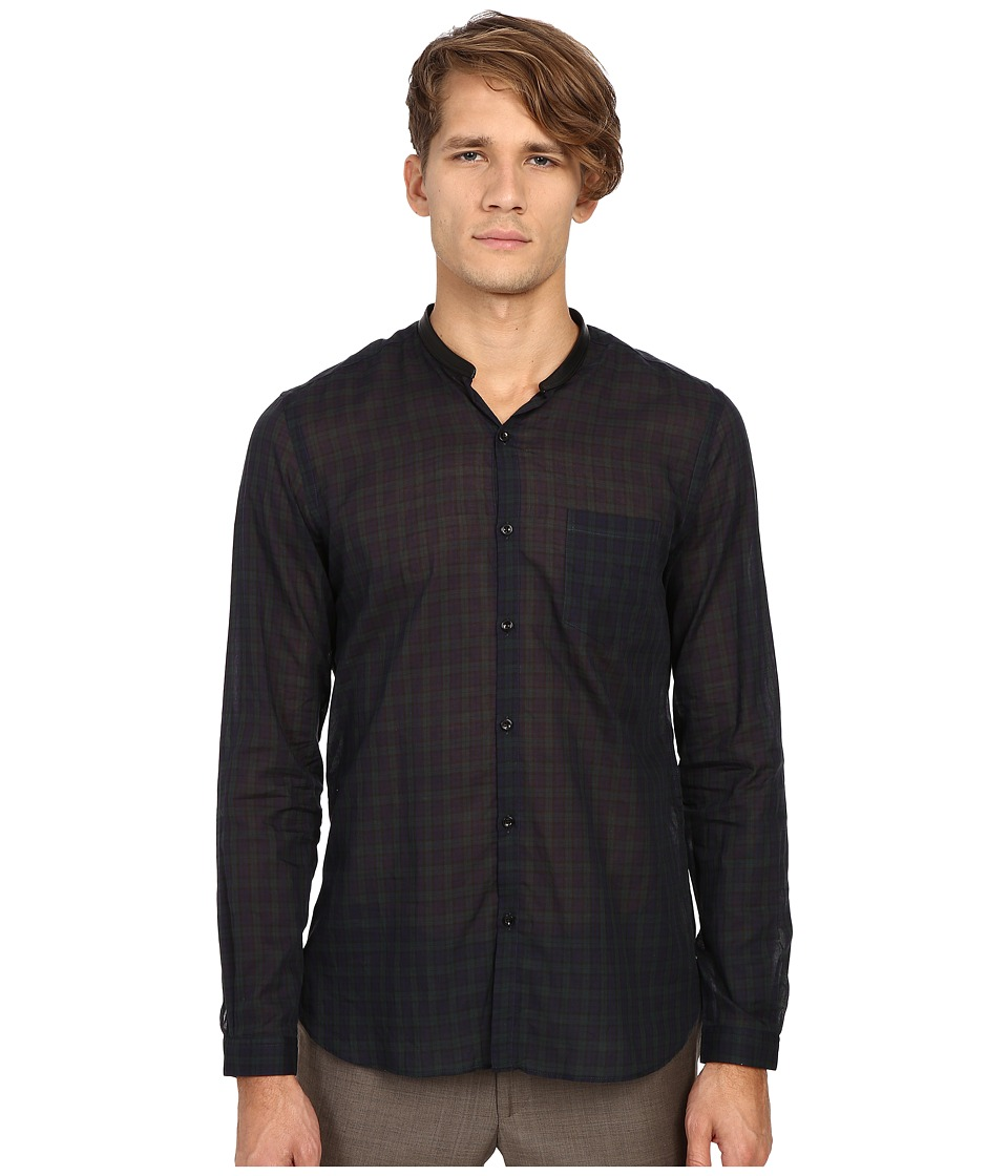 The Kooples - Light Tartan Checks Shirt (Navy) Men's Long Sleeve Button Up