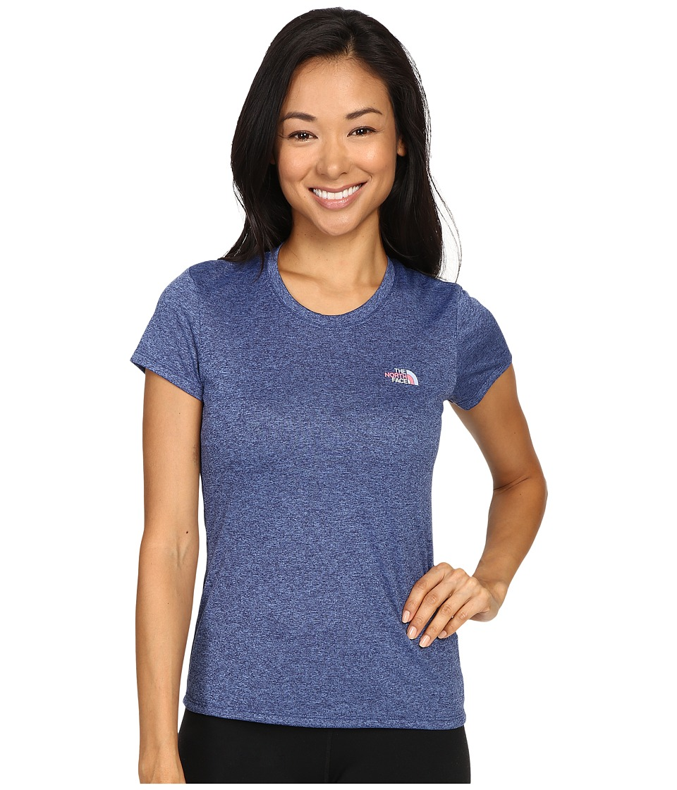The North Face - Short Sleeve Reaxion Amp Tee (Patriot Blue Heather/Powder Blue Multi) Women