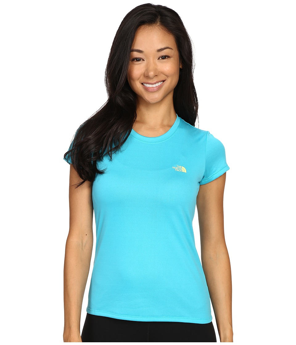 The North Face - Short Sleeve Reaxion Amp Tee (Bluebird/Budding Green) Women