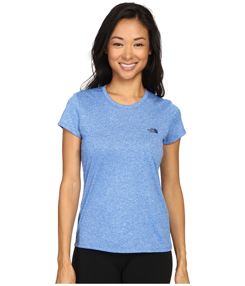 The North Face - Short Sleeve Reaxion Amp Tee (Bomber Blue Heather/Patriot Blue) Women