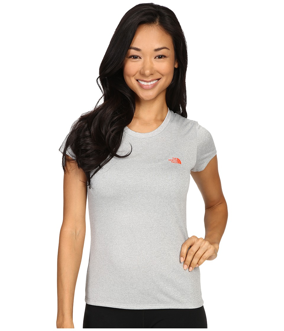 The North Face - Short Sleeve Reaxion Amp Tee (TNF Light Grey Heather/Radiant Orange) Women