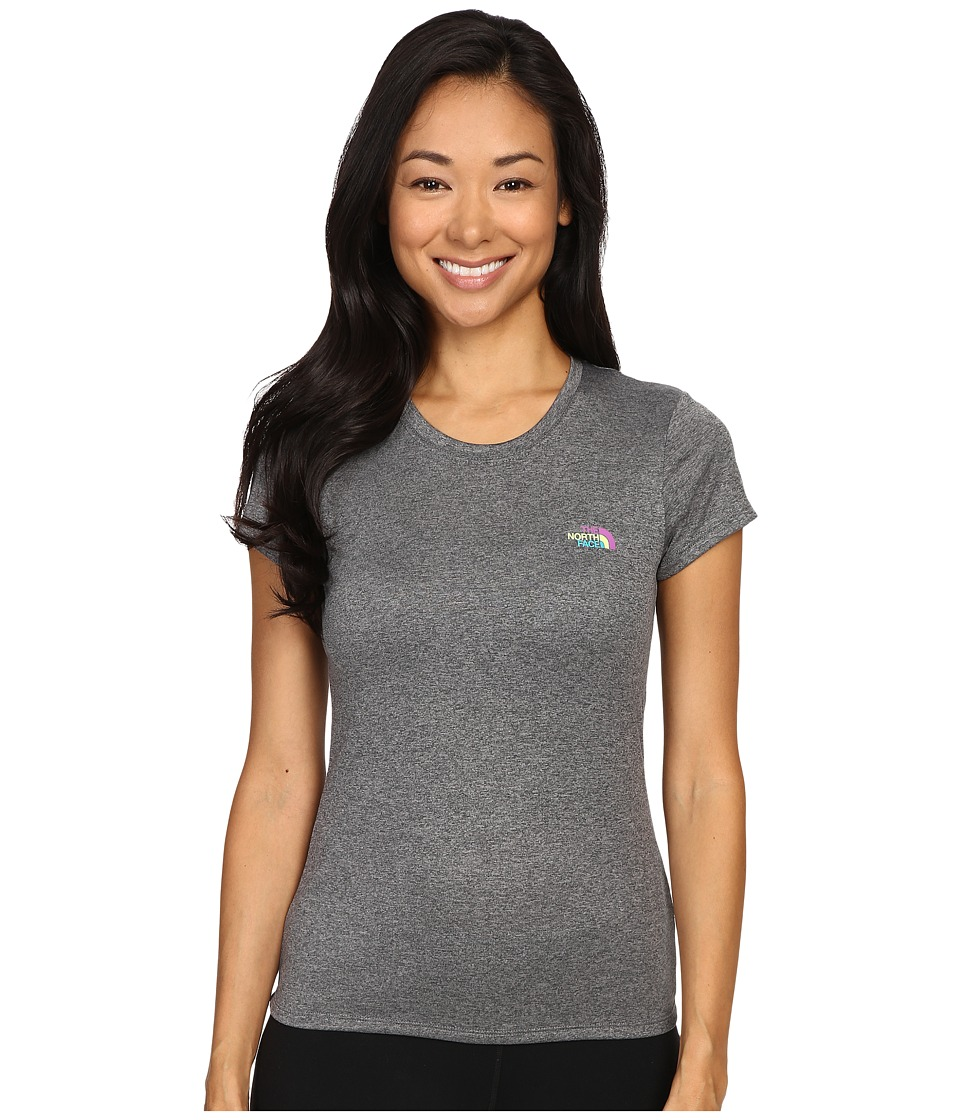 The North Face - Short Sleeve Reaxion Amp Tee (TNF Medium Grey Heather/Sweet Violet Multi) Women