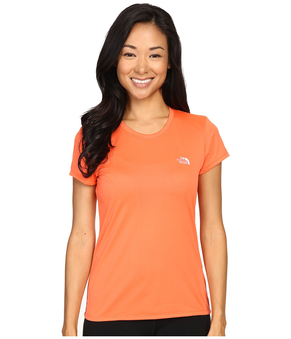 The North Face - Short Sleeve Reaxion Amp Tee (Radiant Orange/TNF White Multi) Women