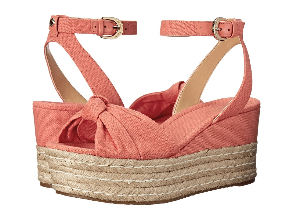 MICHAEL Michael Kors - Maxwell Mid Wedge (Pink Grapefruit Small Weave Canvas/Nappa) Women's Wedge Shoes