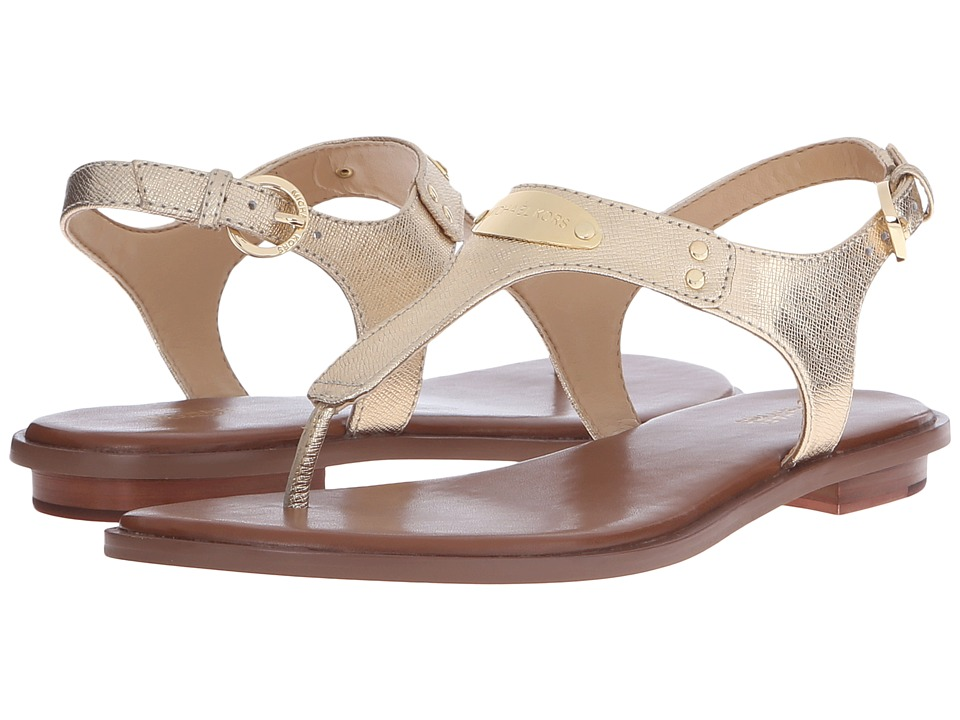MICHAEL Michael Kors - MK Plate Thong (Pale Gold Metallic Saffiano) Women's Sandals