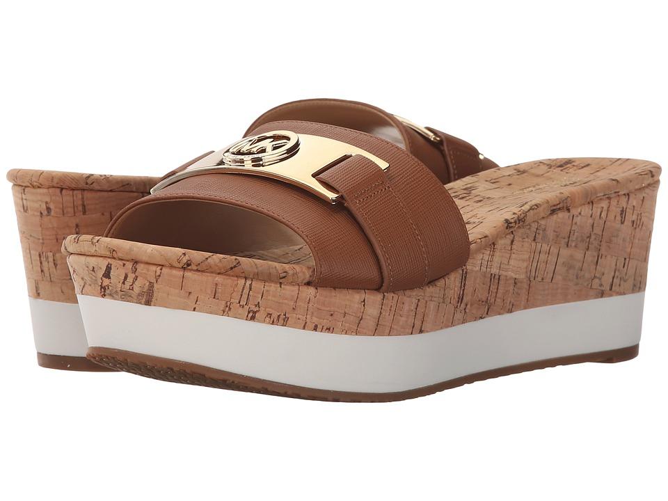 MICHAEL Michael Kors - Warren Platform (Luggage Saffiano/Cork) Women's Dress Sandals