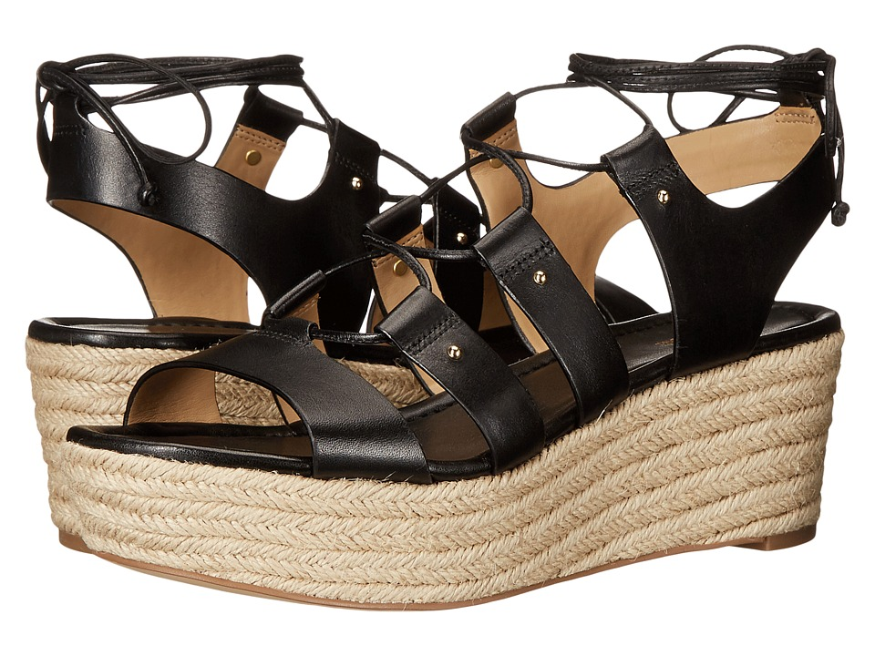 MICHAEL Michael Kors - Sofia Mid Wedge (Black Vachetta) Women's Shoes