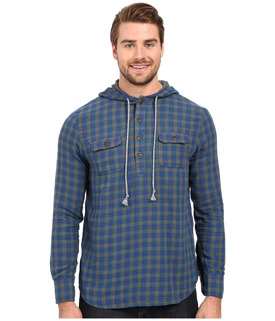 Life is good - Henley Pullover (Blue/Gray Plaid) Men's Long Sleeve Button Up