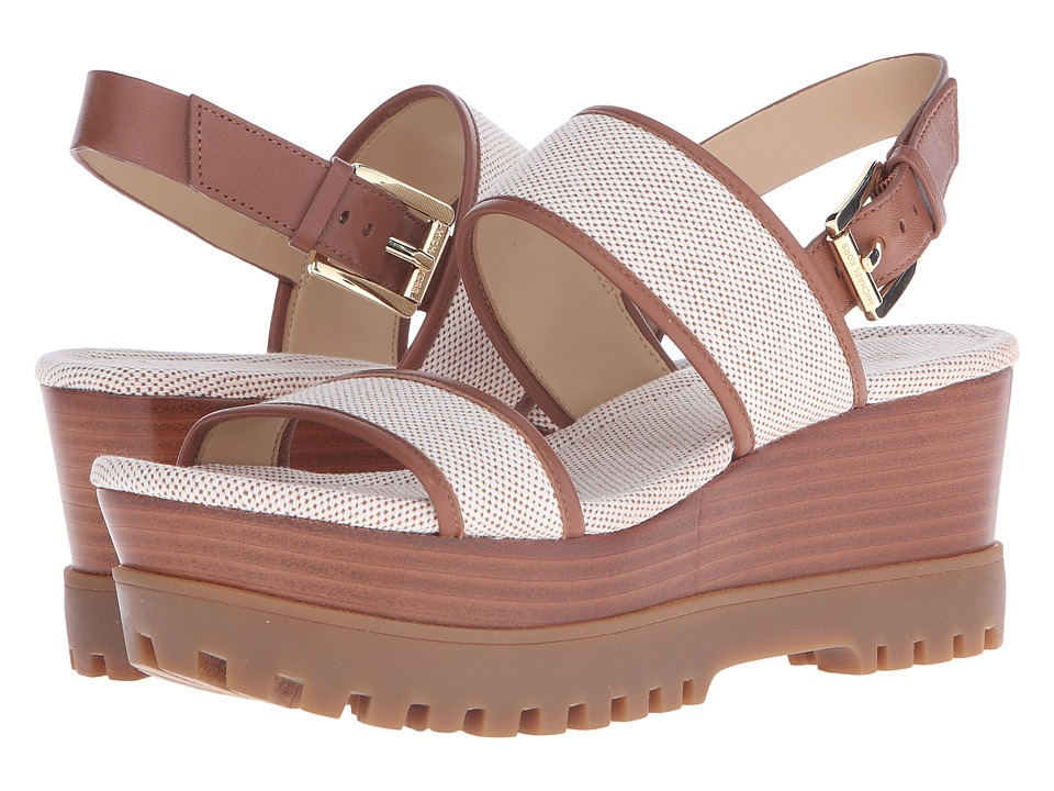 MICHAEL Michael Kors - Gillian Mid Wedge (Luggage Two Tone Canvas/Nappa) Women's Sandals
