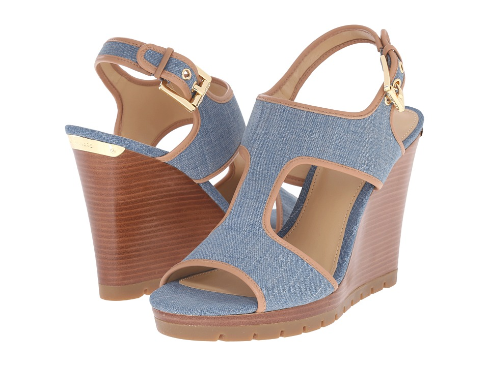 MICHAEL Michael Kors - Gillian Wedge (Washed Denim Nappa) Women's Sandals