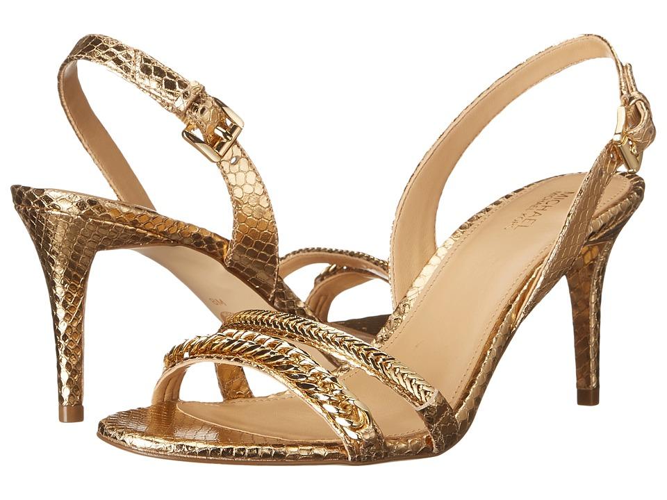 MICHAEL Michael Kors - Jackie Mid Sandal (Pale Gold Metallic Snake) Women's Sandals