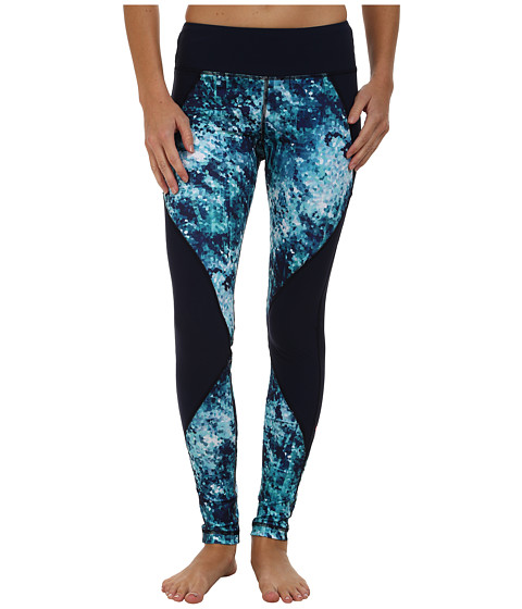 Pink Lotus - Midnight Metro Midnight Run Print Block Leggings (Crystal Blue) Women's Workout