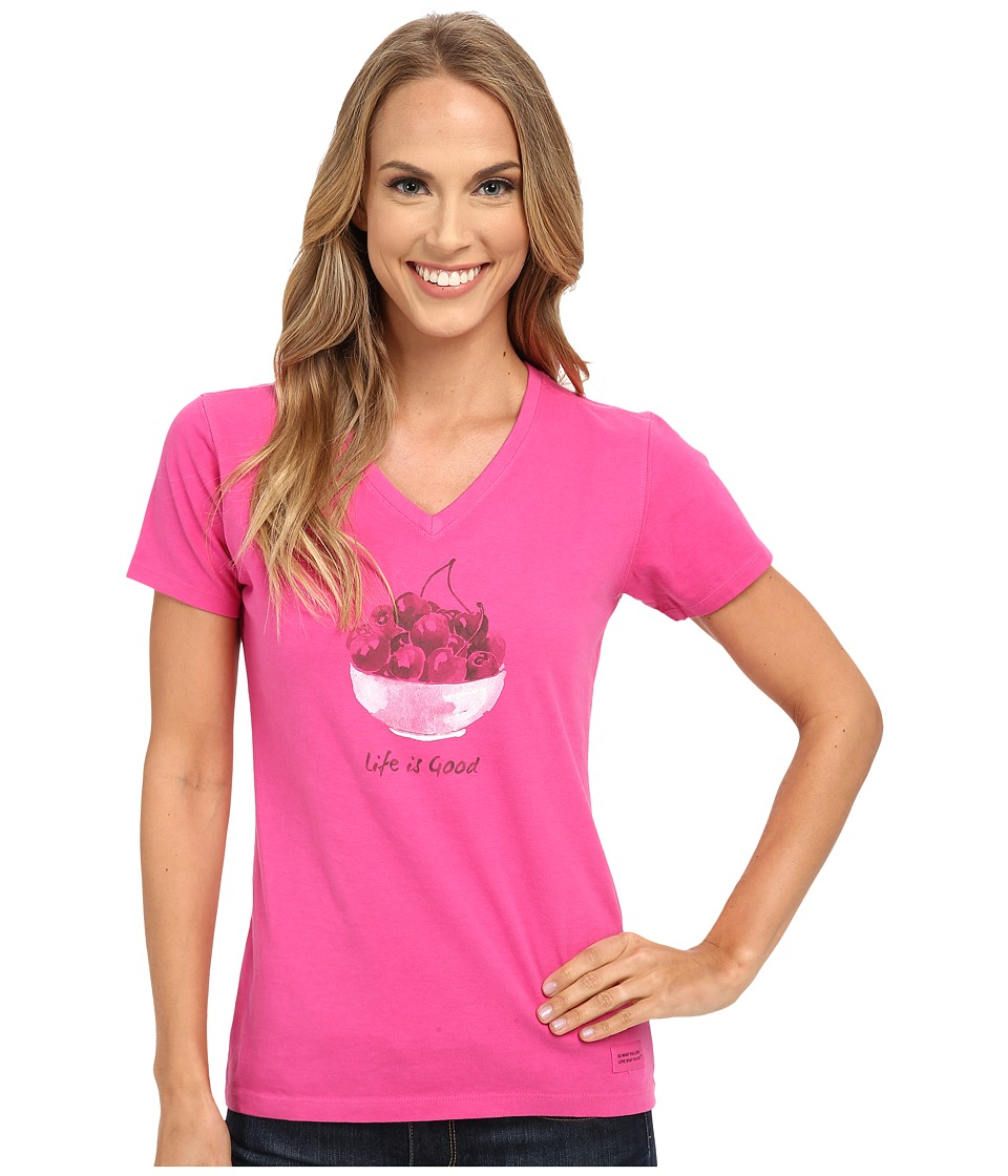 Life is good - Cherry Bowl Crusher Vee (Bold Pink) Women's Short Sleeve Pullover
