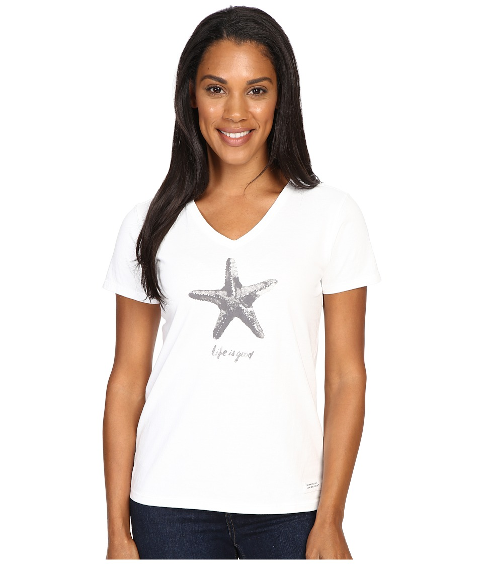 Life is good - Watercolor Starfish Crusher Vee (Cloud White) Women's T Shirt