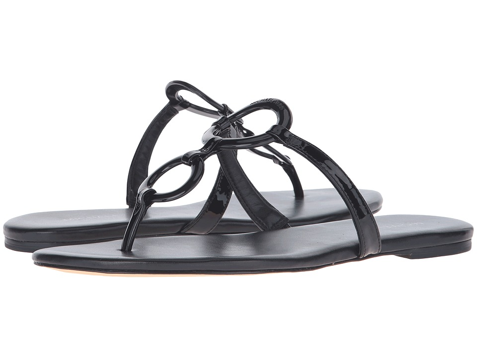 MICHAEL Michael Kors Claudia Flat Sandal (Black Patent) Women