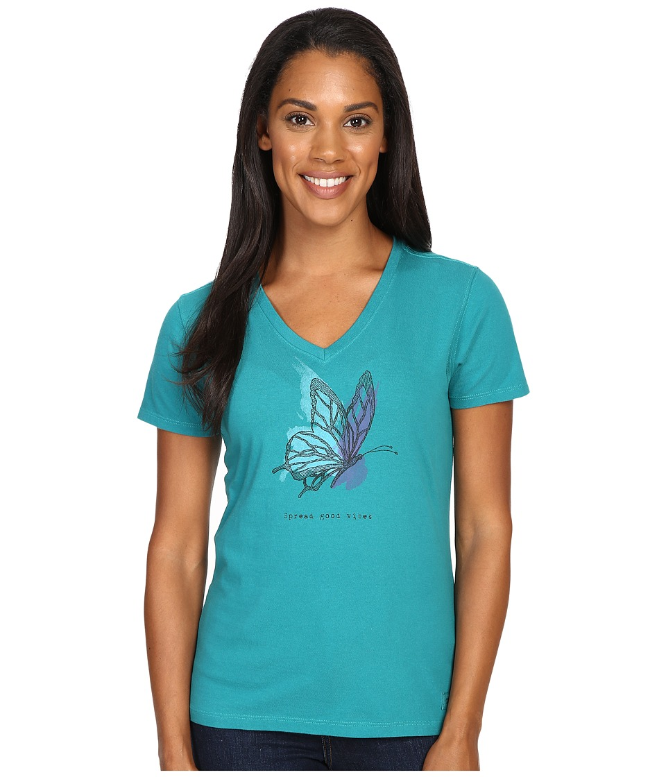 Life is good Engraved Butterfly Crusher Vee (Beachy Teal) Women